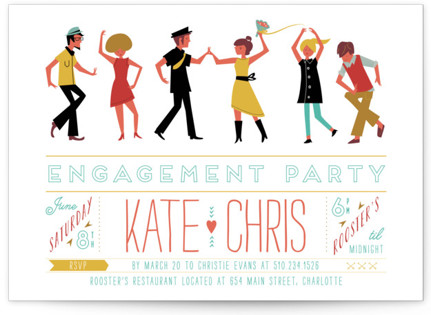 Retro Party Engagement Party Invitations