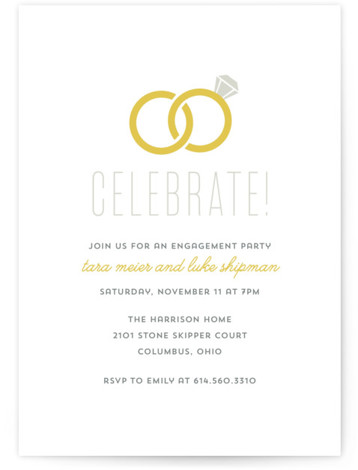 This is a portrait simple, grey Engagement Party Invitations by Cheer Up Press called Infinity Rings with Standard printing on Signature in Classic Flat Card format. This simplistic engagement party invitation design features interlocking wedding rings.