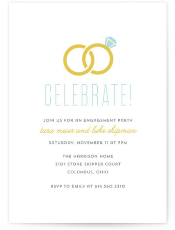 "This is a portrait simple, blue Engagement Party Invitations by Cheer Up Press called Infinity Rings with Standard printing on Signature in Classic Flat Card format. 5"" x 7""Size. This simplistic engagement party invitation design features interlocking wedding rings."