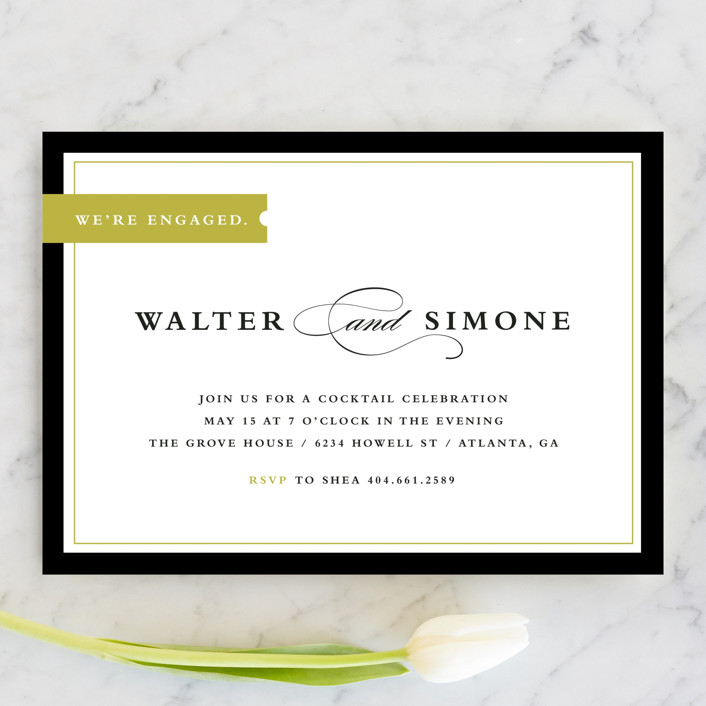 """""""Elegant Tag"""" - Elegant, Formal Engagement Party Invitations in Goldenrod by Stacey Meacham."""