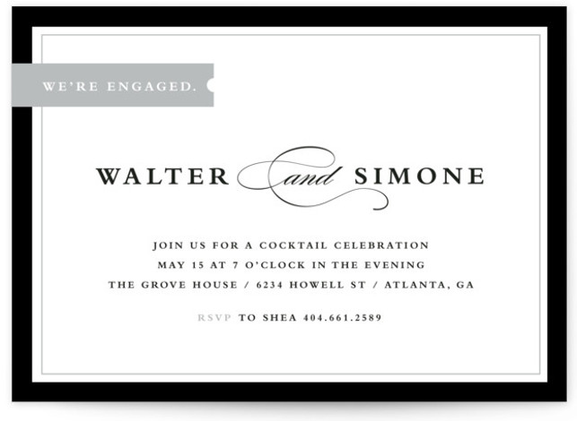 This is a landscape classic, elegant, formal, grey Engagement Party Invitations by Stacey Meacham called Elegant Tag with Standard printing on Signature in Classic Flat Card format. An elegant engagement announcement with a bold border and vintage style tag and ...