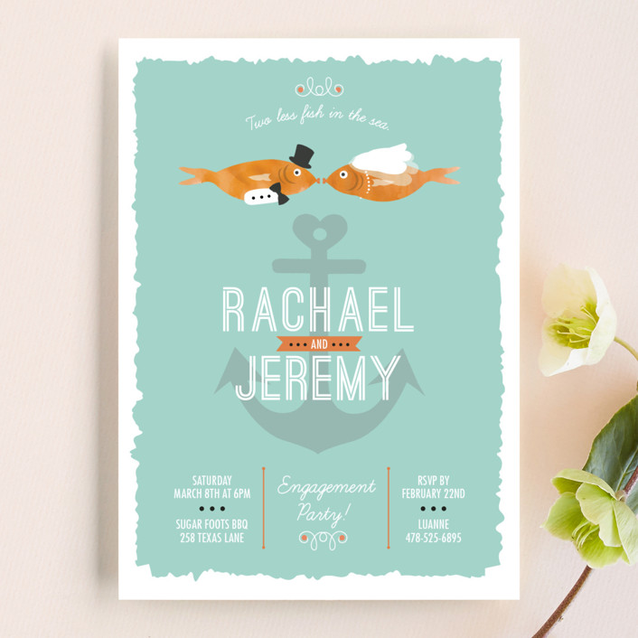 """Fish Party"" - Whimsical & Funny Engagement Party Invitations in Tangerine by Katie Zimpel."