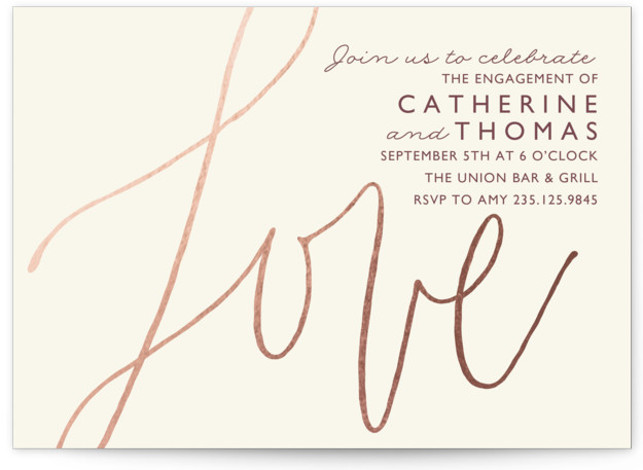 """This is a landscape elegant, red Engagement Party Invitations by Griffinbell Paper Co. called Love Letters with Standard printing on Signature in Classic Flat Card format. 7"""" x 5""""Size. Bold calligraphic hand lettering is paired with clean, classic typography."""