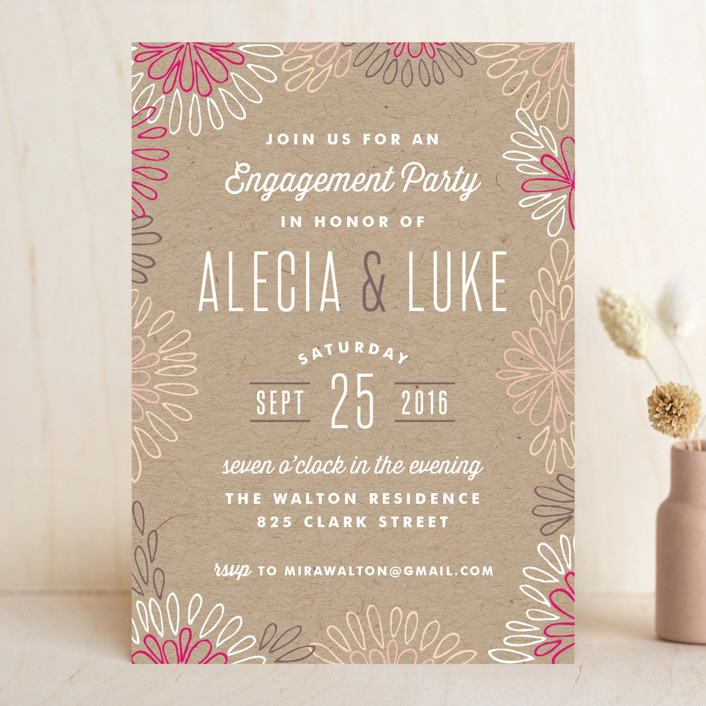Modern Floral Border Engagement Party Invitations by Hooray – Creative Engagement Party Invitations