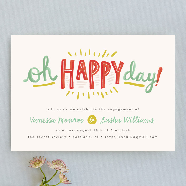 """""""Oh Happy Day"""" - Whimsical & Funny Engagement Party Invitations in Seafoam by Pistols."""