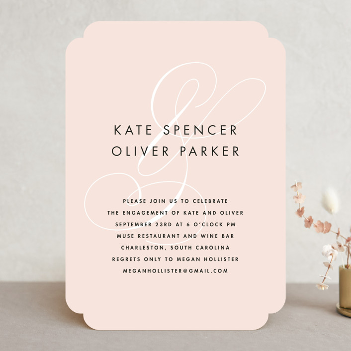 """Chic Ampersand"" - Elegant Engagement Party Invitations in Blush by Kristie Kern."