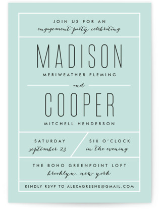 Downtown Chic Engagement Party Invitations