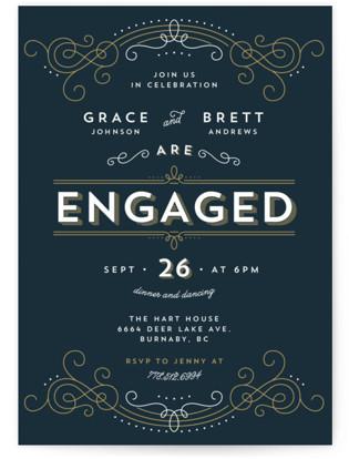 Elegant Deco Engagement Party Invitations