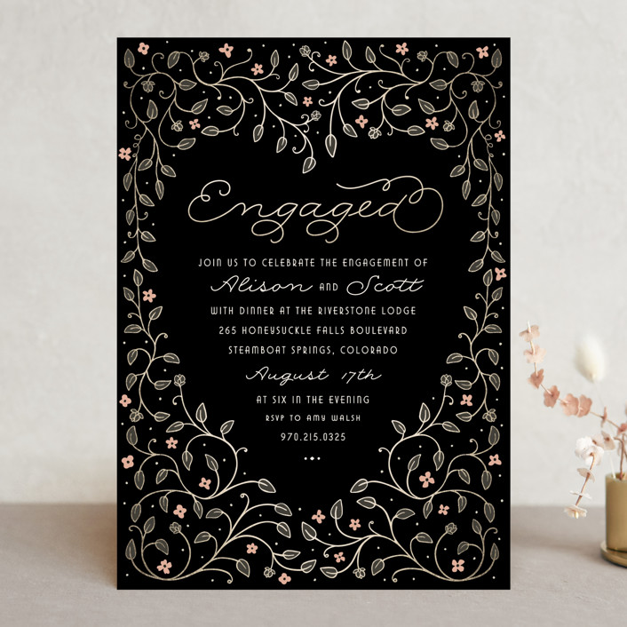 """Heart and Vine"" - Floral & Botanical, Elegant Engagement Party Invitations in Tuxedo by Hooray Creative."