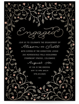 Heart and Vine Engagement Party Invitations