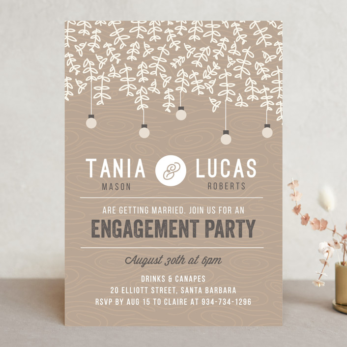 """""""Botanica"""" - Rustic, Floral & Botanical Engagement Party Invitations in Stone by Bonjour Berry."""
