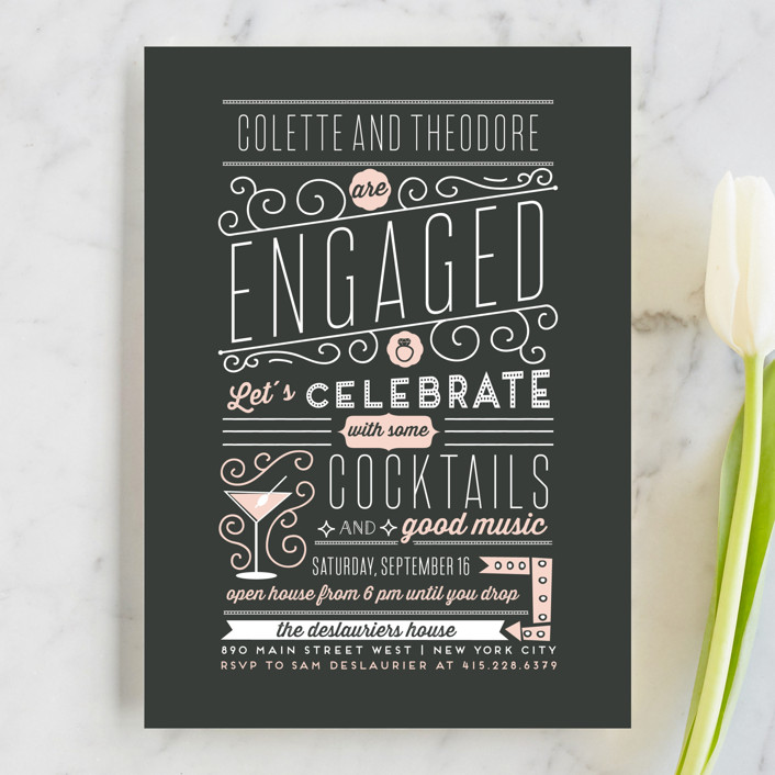 """Engagement Cocktails and Music"" - Vintage Engagement Party Invitations in Charcoal by Bonjour Paper."