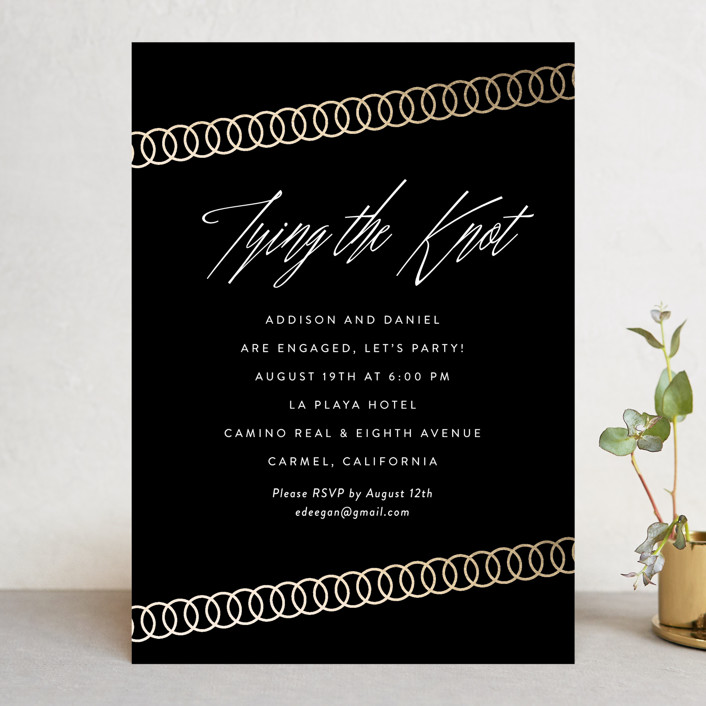 """""""Linked Rings"""" - Elegant, Modern Engagement Party Invitations in Gold by Erin Deegan."""