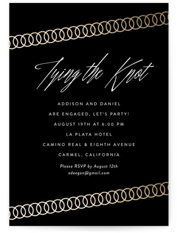 "This is a portrait elegant, modern, gold, black Engagement Party Invitations by Erin Deegan called Linked Rings with Standard printing on Signature in Classic Flat Card format. 5"" x 7""Size. Elegant engagement party invitation with a black background and a ..."