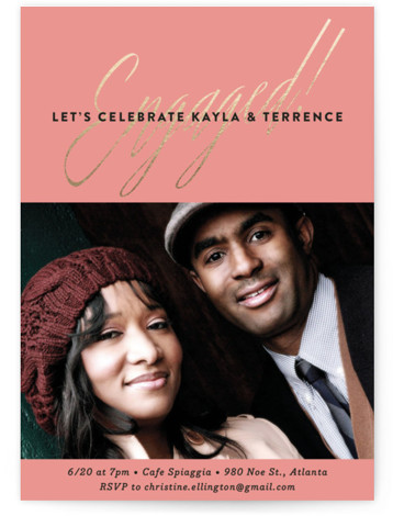 This is a portrait bold typographic, modern, pink Engagement Party Invitations by Olivia Raufman called Glam Engagement with Standard printing on Signature in Classic Flat Card format. Celebrate the bride and groom to be with this chic engagement photo invitation. ...