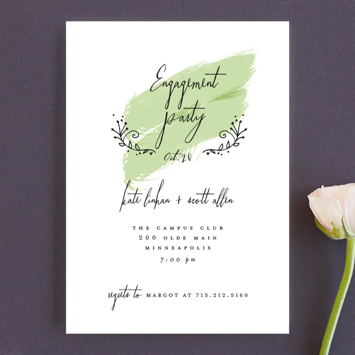 """Tiny Hearts"" - Whimsical & Funny Engagement Party Invitations in Sage by Susan Brown."