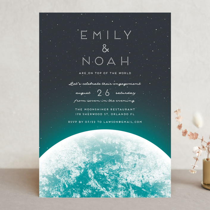 """On top of the world"" - Engagement Party Invitations in Earth by Gwen Bedat."