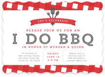 This is a red engagement party invitation by Lea Delaveris called I Do BBQ with standard printing on signature in standard.