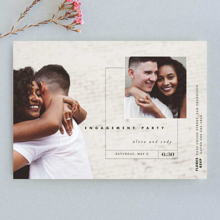 """""""Downtown"""" - Engagement Party Invitations in Noir by Eric Clegg."""