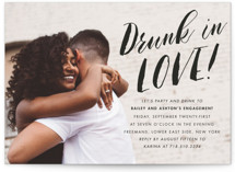 This is a black engagement party invitation by Jennifer Lew called Open Bar with standard printing on signature in standard.