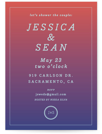 "This is a blue, red Engagement Party Invitations by Nibby Press called Blush Ombre with Standard printing on Signature in Classic Flat Card format. 5"" x 7""Size. Couple's Bridal Shower Modern Classic Vibrant shades of blush and turquoise are the ..."