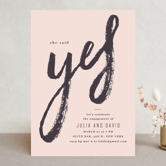 """bold yes"" - Engagement Party Invitations in Dreamy by Creo Study."