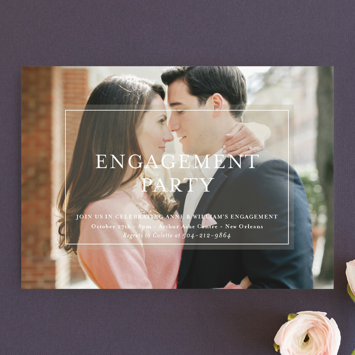 """Charming Classic"" - Engagement Party Invitations in Latte by Julie Hebert."