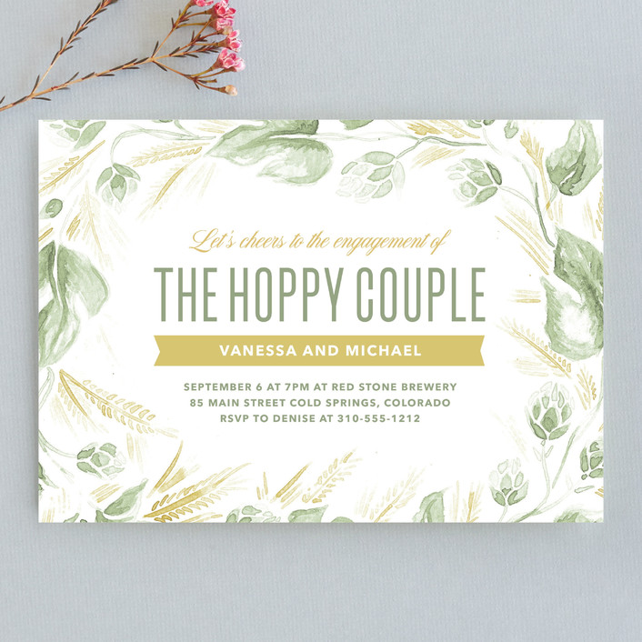"""""""Hoppy Couple"""" - Engagement Party Invitations in Evergreen by Laura Moyer."""