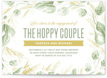 This is a green engagement party invitation by Laura Moyer called Hoppy Couple with standard printing on signature in standard.