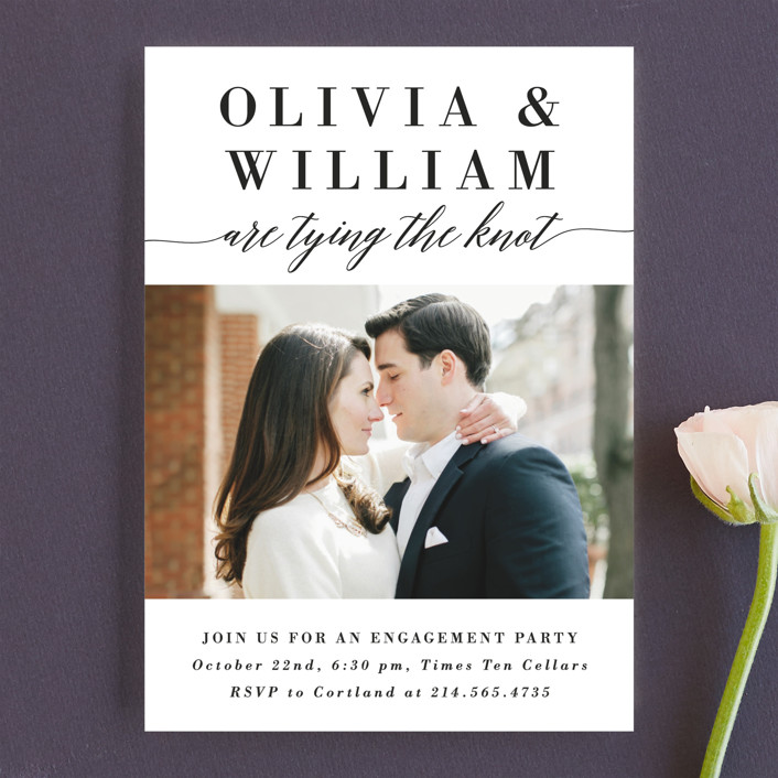 """Simply Stated"" - Engagement Party Invitations in Tuxedo by Susan Asbill."
