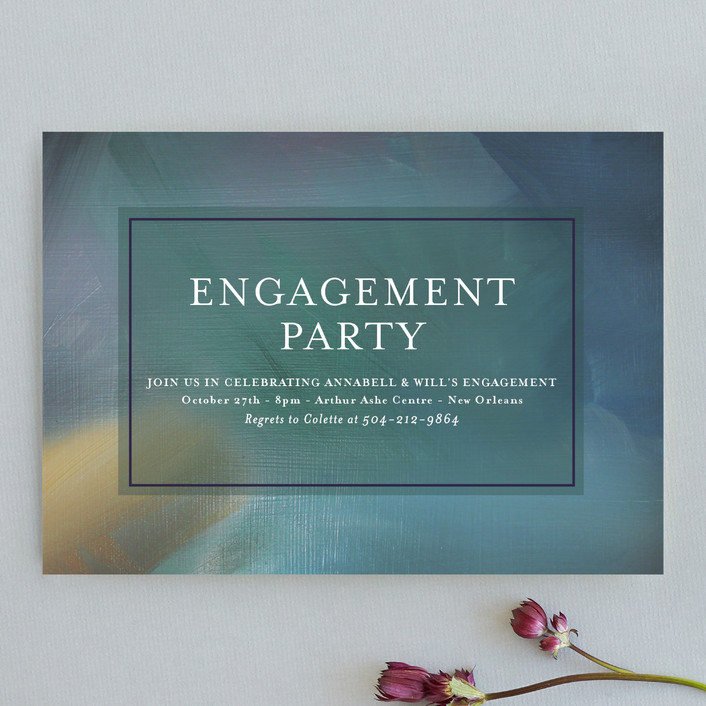 """""""Current Engagement"""" - Engagement Party Invitations in Peacock by Julie Hebert."""