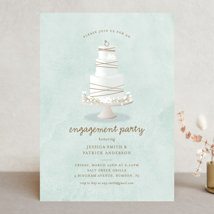 """Modern Bohemian Cake"" - Engagement Party Invitations in Soft Teal by Ana Sharpe."
