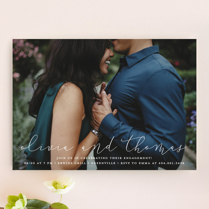 """Etched in love"" - Engagement Party Invitations in Cloud by Stacey Meacham."