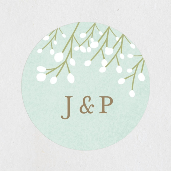 """""""Modern Bohemian Cake"""" - Engagement Party Favor Stickers in Soft Teal by Ana Sharpe."""