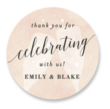 This is a gold wedding favor label by Kelly Schmidt called Sip Sip Hooray with standard printing on uncoated sticker paper in sticker.