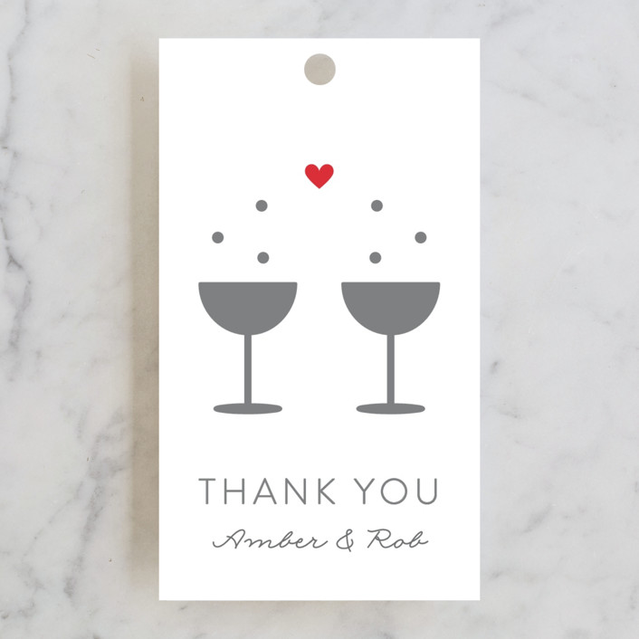 """Bubbly Love"" - Engagement Party Favor Tags in Crimson by Kim Dietrich Elam."