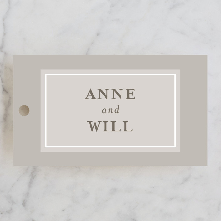 """Charming Classic"" - Engagement Party Favor Tags in Latte by Julie Hebert."