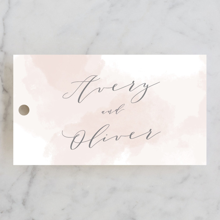 """Modern Brilliance"" - Engagement Party Favor Tags in Blush by Kristie Kern."