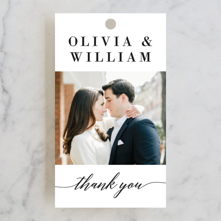 """Simply Stated"" - Engagement Party Favor Tags in Tuxedo by Susan Asbill."