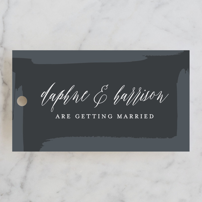 """framed in gold"" - Engagement Party Favor Tags in Midnight by Erin Deegan."