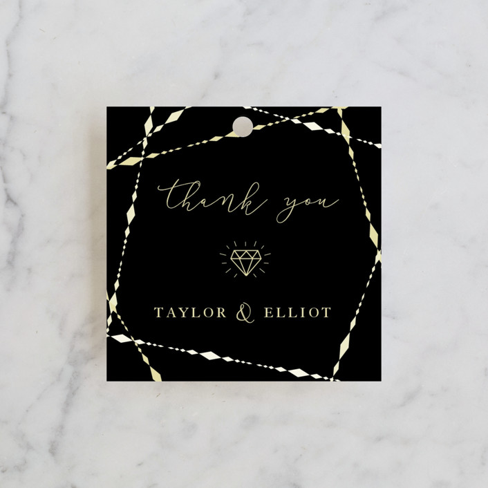 """Geometric Diamonds"" - Engagement Party Favor Tags in Onyx by fatfatin."