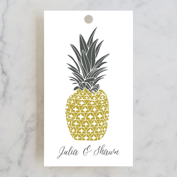 """""""Guilded Pineapples"""" - Engagement Party Favor Tags in Golden by Beth Schneider."""