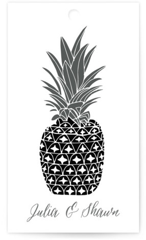 This is a offbeat or funny, grey, silver Wedding Favor Tags by Beth Schneider called Guilded Pineapples with Standard printing on Signature in Tag Flat Card format. Add the perfect finishing touch to all of your wedding gifts with these ...