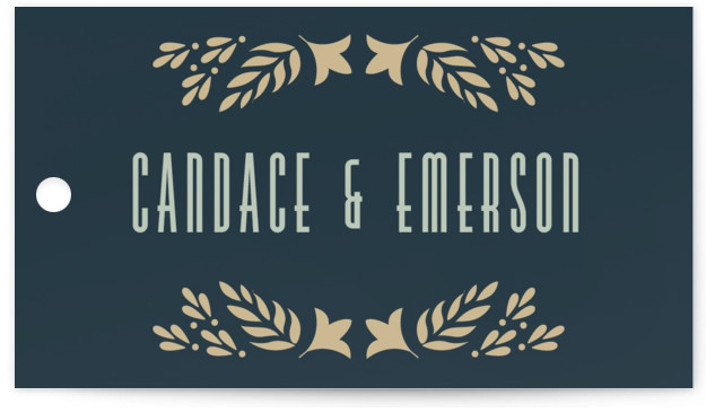 This is a blue, gold Wedding Favor Tags by Ana de Sousa called Gilded Love with Standard printing on Signature in Tag Flat Card format. Add the perfect finishing touch to all of your wedding gifts with these chic and ...