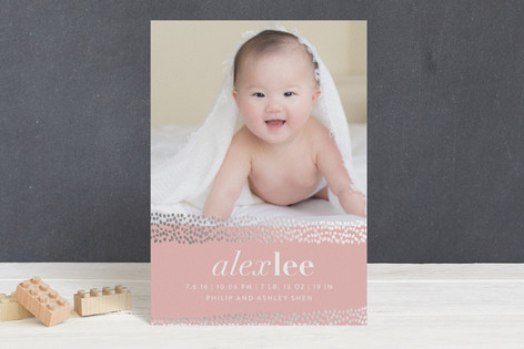 Gilded Flurries Foil-Pressed Birth Announcement Postcards