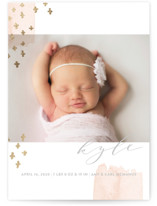 This is a grey birth announcement postcard by Oscar & Emma called Tiny Love with foil-pressed printing on signature in postcard.