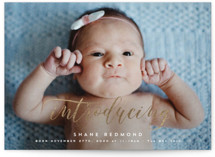 This is a white birth announcement postcard by Hooray Creative called A Classic Introduction with foil-pressed printing on signature in postcard.