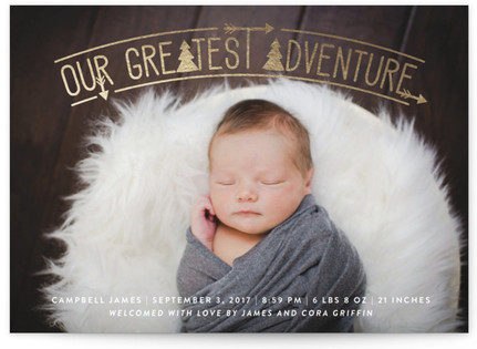 Adventurous Tribal Foil-Pressed Birth Announcement Postcards