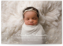 This is a white birth announcement postcard by Joanna Griffin called Glitter Stardust with foil-pressed printing on signature in postcard.