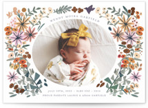 This is a green birth announcement postcard by Morgan Ramberg called Blossom Baby with foil-pressed printing on signature in postcard.